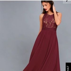 Lulus forever and always burgundy lace maxi dress
